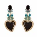 orecchini cuore smalto nero e pietre