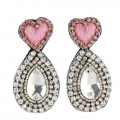orecchini cuore rosa e strass