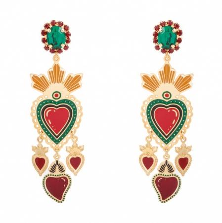 orecchini smalto con cuori pendenti Triple Heart