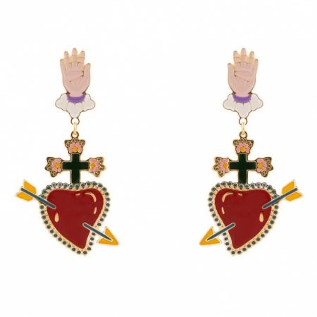 orecchini smalto cuore rosso con Freccia