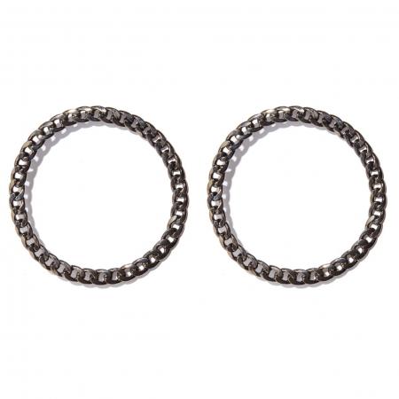 orecchini cerchio catena nera Ciara B