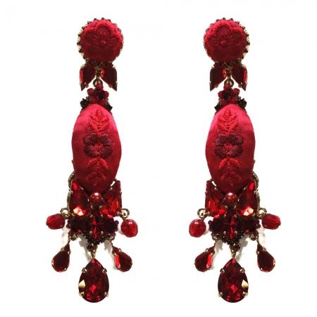 orecchini seta rossa e pietre Domino Rosso