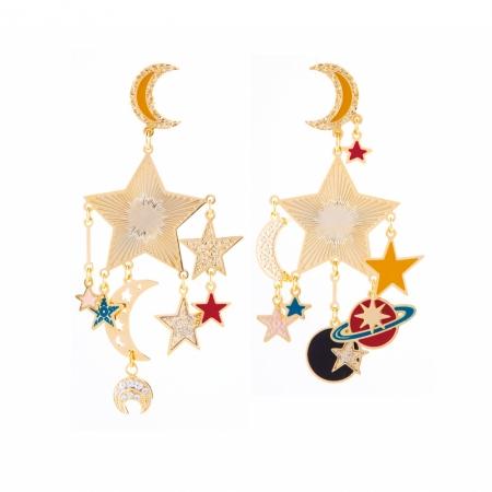 orecchini pendenti con stelle e pianeti, orecchino con stelle e pianeti