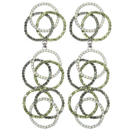 orecchini cristalli sfumati in verde